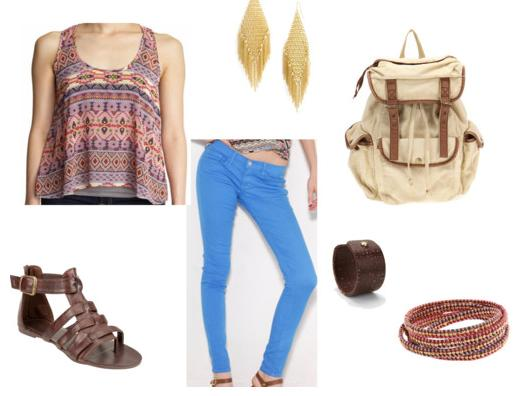 color jeans outfit