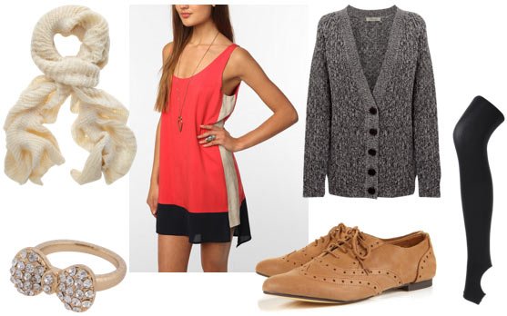 Colorblock outfit for class: Coral colorblock dress, cozy cardigan, cream scarf, oxfords, bow ring