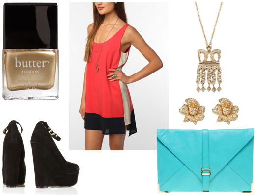 Colorblock outfit for a night out: Coral colorblock dress, ankle strap wedges, bright blue clutch, glitter nail polish, crown necklace, rose earrings