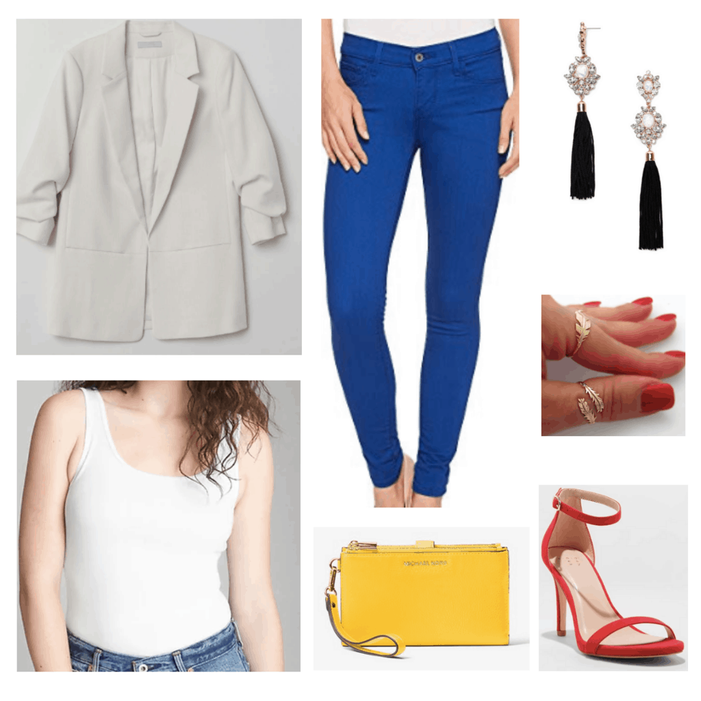 colorblock outfit primary color outfit white blazer bright blue jeans black earrings gold leaf rings red heels yellow clutch bag white tank top