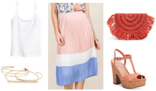 Summer outfit idea: Colorblock pleated skirt in pink, white and blue paired with white spaghetti strap cami tank, gold bracelets, coral woven bag with fringe, coral platform heels