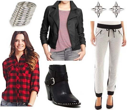 Colorblock track pants, plaid shirt, leather jacket
