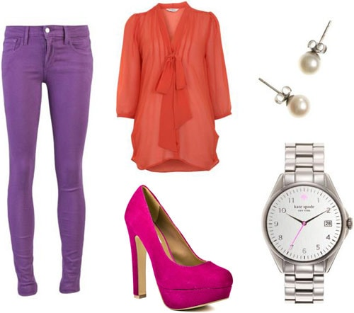How to wear colored denim - Outfit 2: Purple jeans, orange bow blouse, neon pink heels, menswear watch, pearl studs