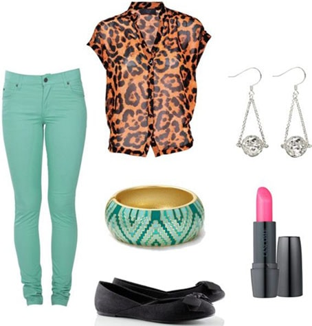 How to wear colored denim - Outfit 3: Green jeans, leopard blouse, black flats, statement earrings