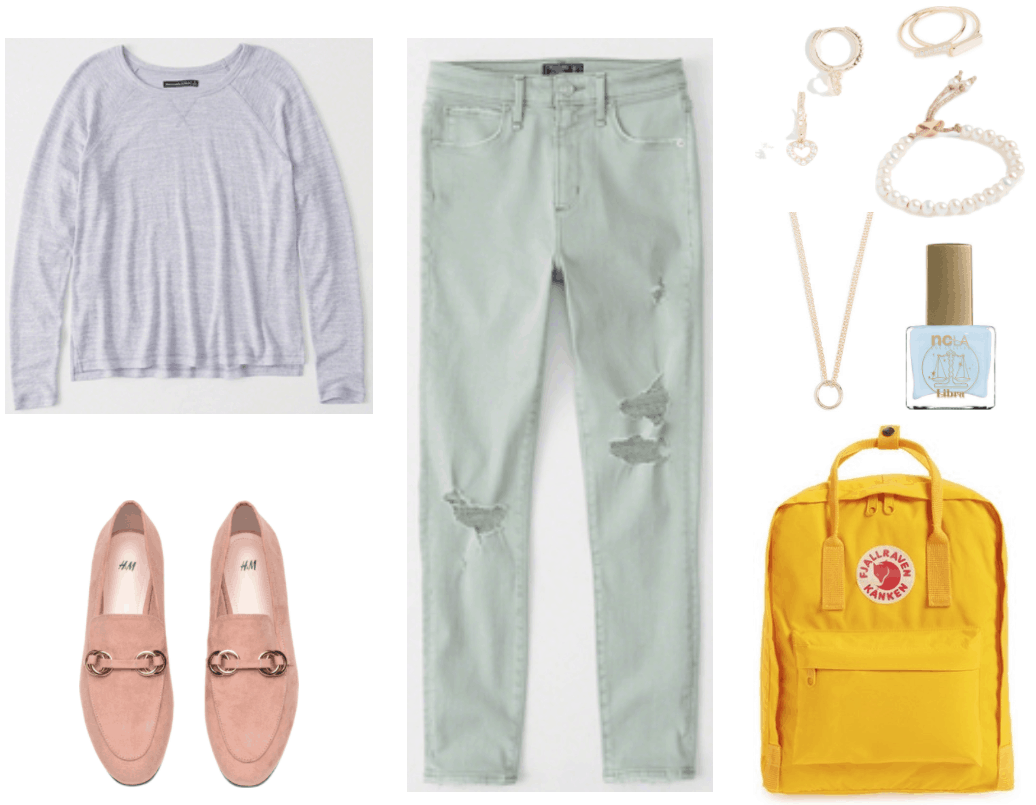 Long-sleeved baseball t-shirt in heathered lavender, powder pink loafers with gold rings, pale green high-rise ripped ankle-length jeans, small gold