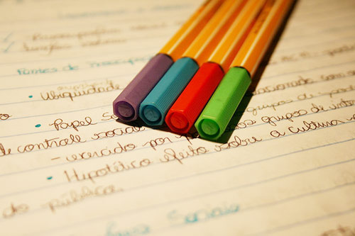 Colored pencils on a notebook