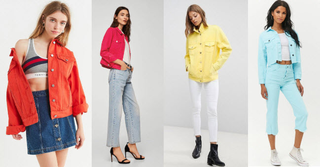 Colored denim jackets with orange denim jacket, fuchsia denim jacket, yellow denim jacket, and light blue denim jacket.