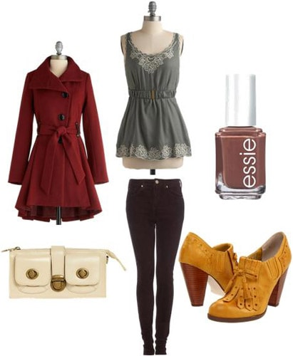 Colorful ankle booties outfit: Yellow ankle booties, skinny jeans, red coat