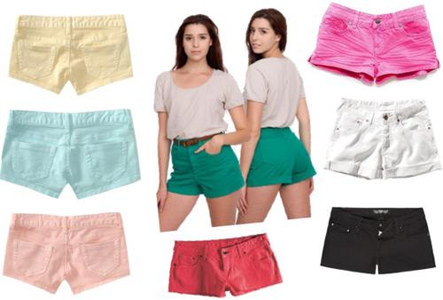 Colorful denim shorts