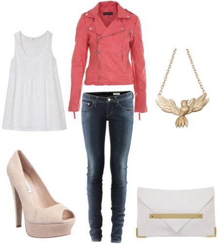 How to wear a pink moto jacket with a white tank, skinnies, beige heels, a gold necklace, and white and gold clutch
