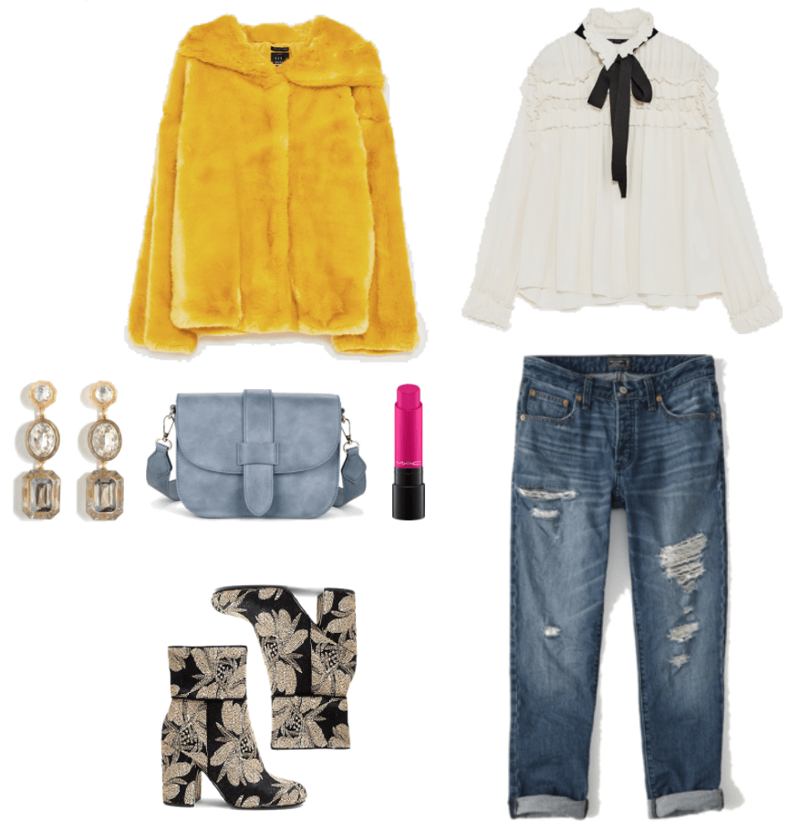 Mustard-yellow three-quarter-sleeved faux-fur jacket with hood, drop earrings with clear, gray, beige, and pale blush-pink stones in various shapes; light blue cross-body bag with front flap, MAC Liptensity Lipstick in