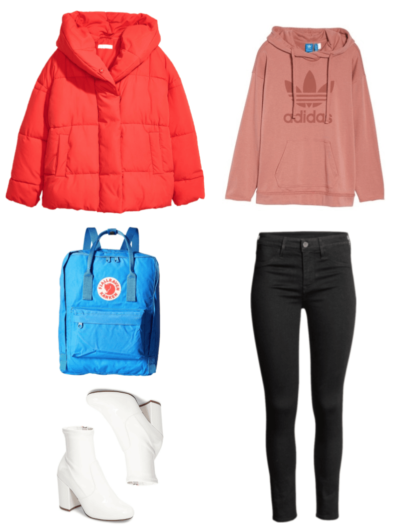 Bright red oversized puffer jacket with hood, Fjällräven bright blue backpack, white patent sock boots with block heel, dusty-pink hoodie with adidas trefoil logo, black skinny ankle jeans