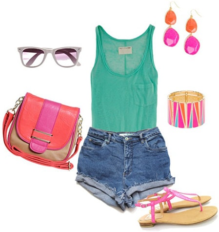 How to wear high waisted shorts and a tank with colorful accessories like a hot pink cross-body bag, pink sandals, pink and orange earrings, sunnies, and a bold cuff bracelet