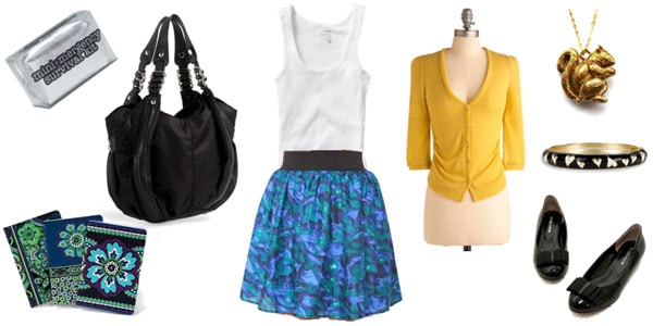How to wear a colorful skirt - outfit for daytime