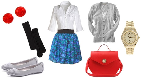 How to wear a colorful skirt - outfit for work