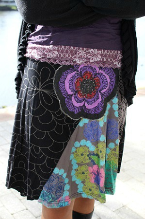 Colorful floral blue skirt