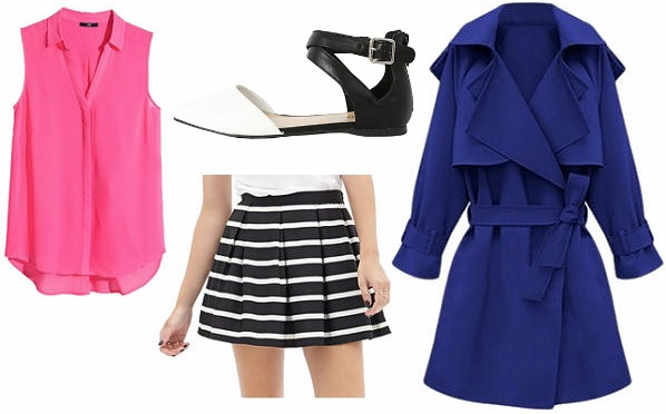 Colorful trench coat outfit