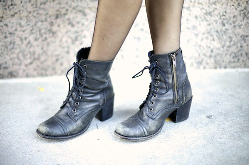 Combat boots college style trend