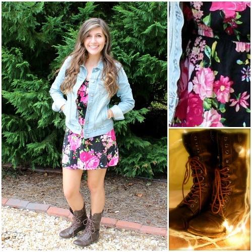 Combat boots, floral dress, denim jacket