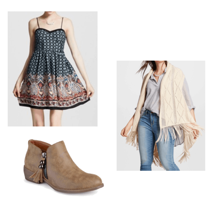 Cute and comfy boho outfit for summer: Patterned fit and flare dress, fringe vest in cream, brown flat booties