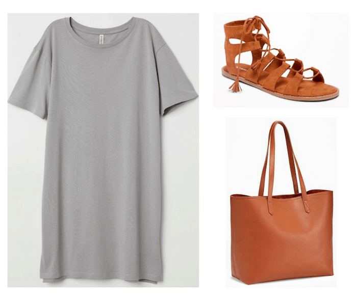 Photo set including a gray tee shirt dress, cognac colored tie-up sandals, and a cognac colored tote bag.