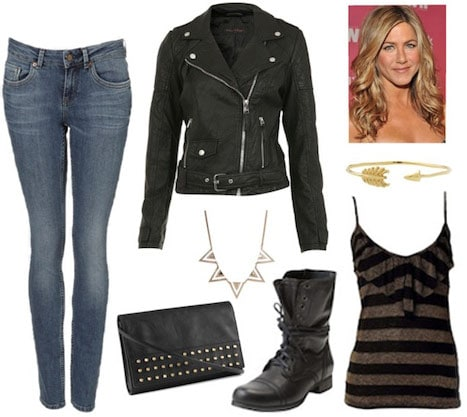 Outfit inspired by Britta from Community - leather jacket, jeans, striped tank, boots