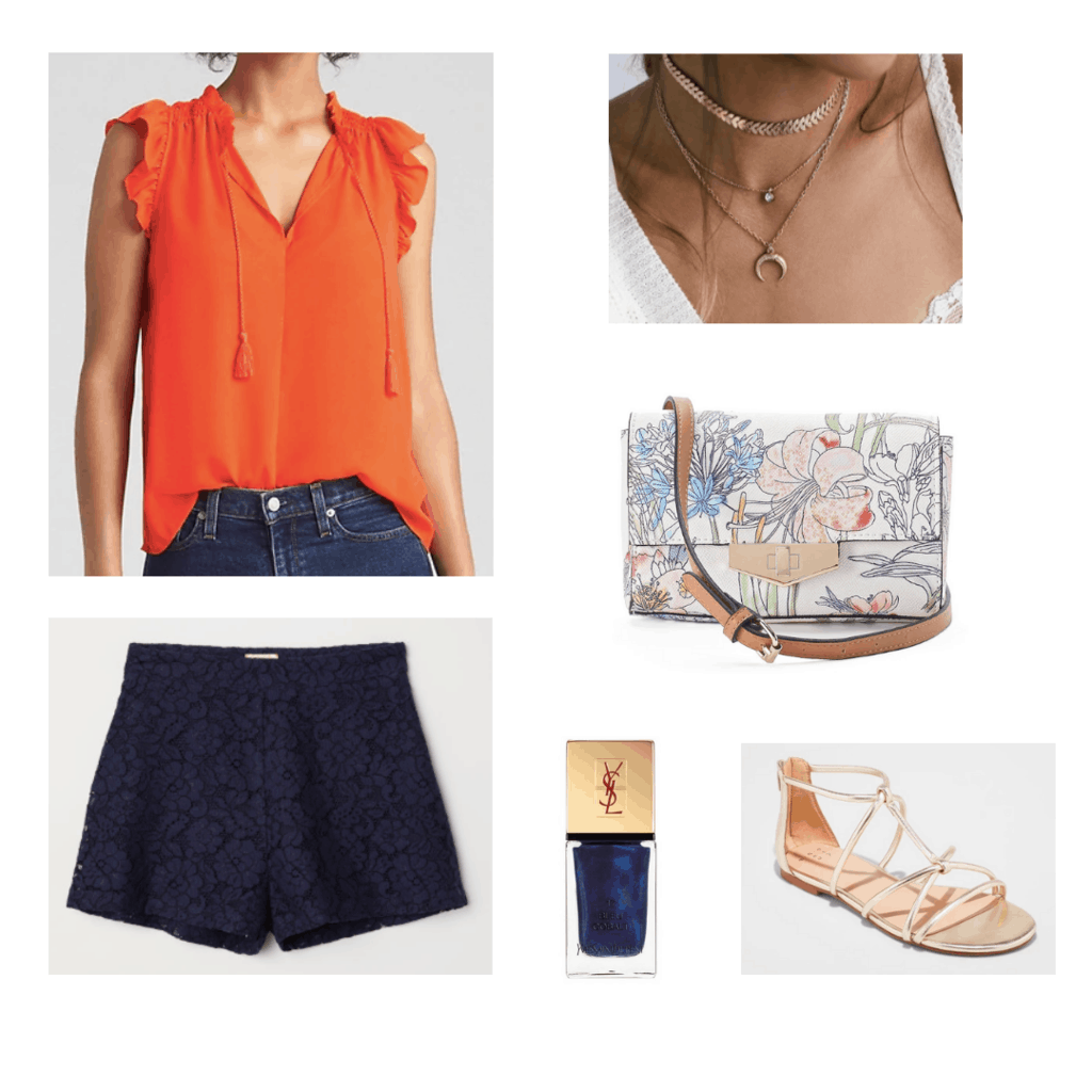 complementary colors outfit orange and blue outfit orange blouse blue lace shorts gold layered necklaces floral cross body bag midnight blue nail polish gold sandals outfit