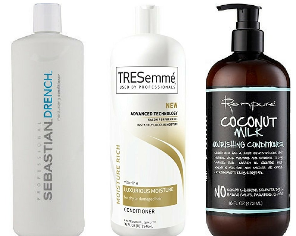 Best conditioners for curly hair: Sebastian Drench Conditioner, Tresemme Luxurious Moisture conditioner, Renpure Coconut Milk conditioner