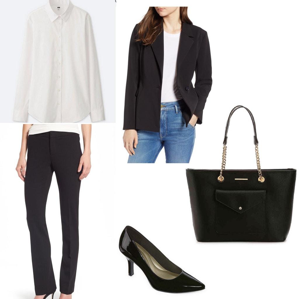 Conservative interview outfit: Black dress pants, black blazer, white button-down shirt, black tote, black heels