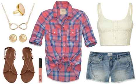Fashion inspired by Alec from Continuum - plaid shirt, denim shorts, crop top, sandals, lip gloss