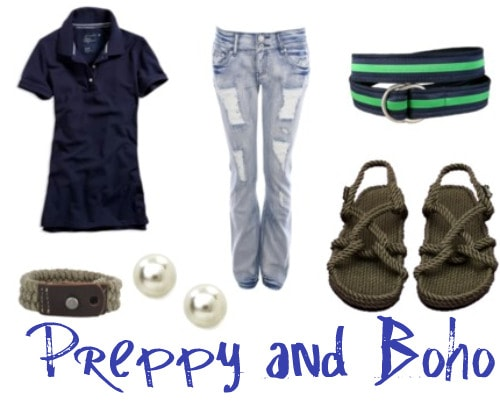 Preppy hippie outfit