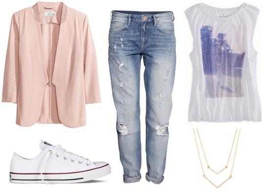Converse, boyfriend jeans, blazer