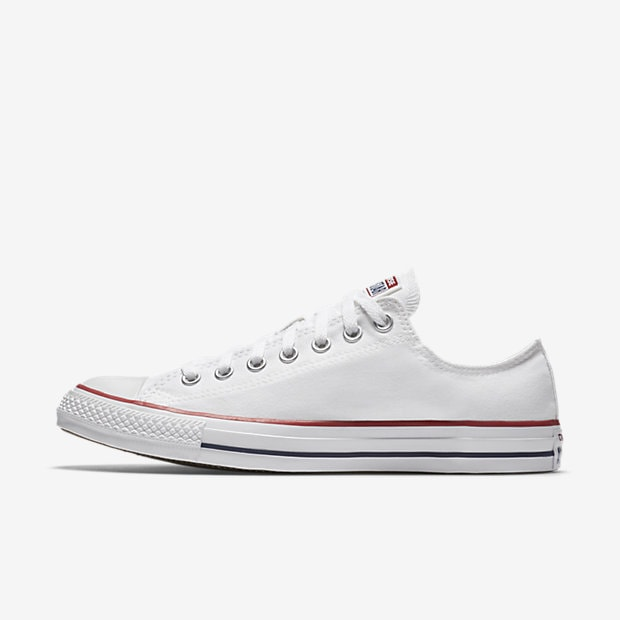 A white canvas sneaker