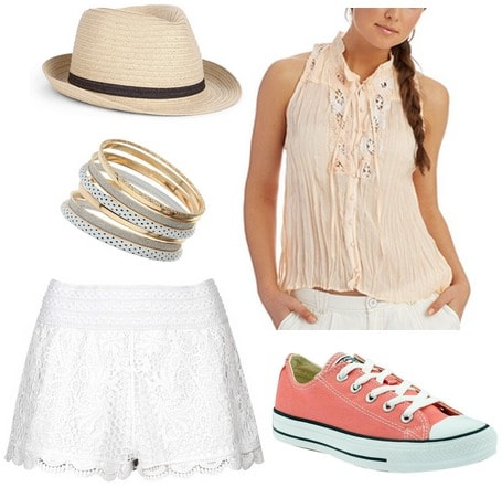 Converse, crochet shorts, sleeveless blouse