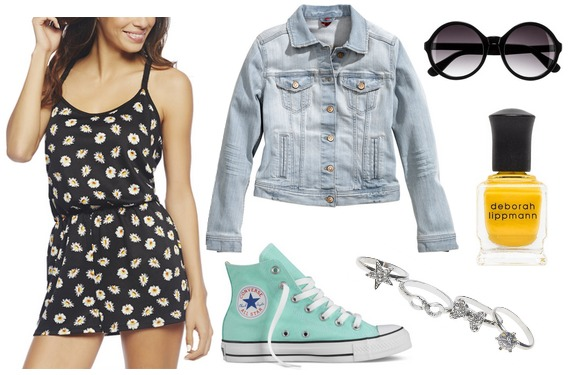 Converse, romper, denim jacket outfit
