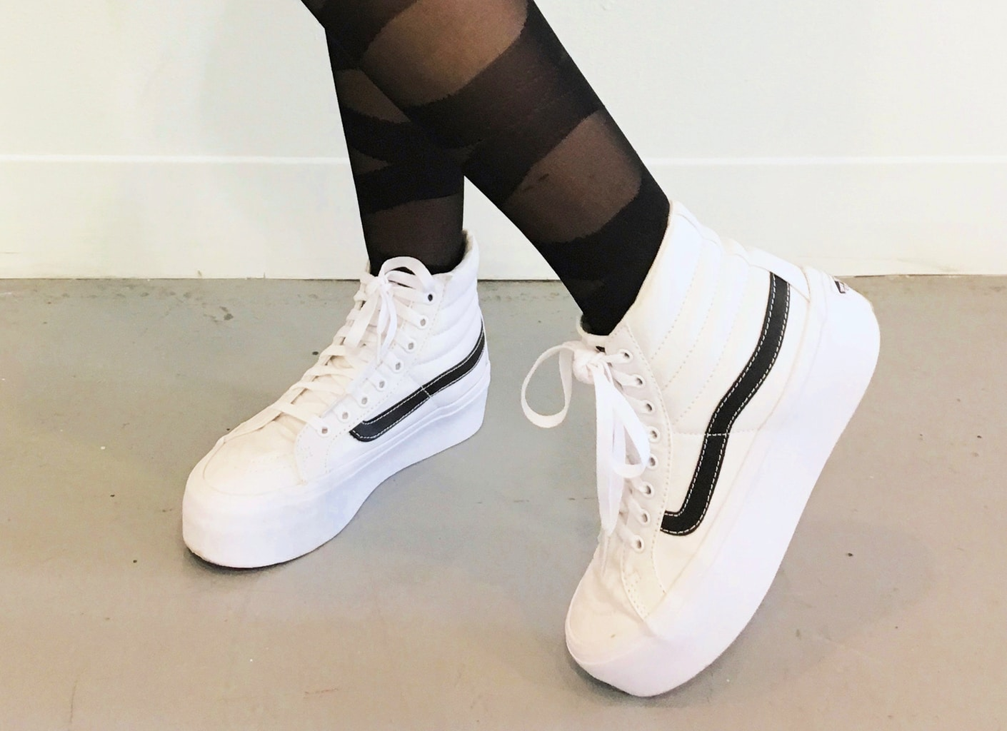 Cool chunky white Vans sneakers on campus at Columbus College of Art and Design