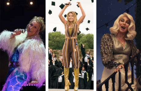 "Get the look from Young Donna in Mamma Mia! Here We Go Again: Film stills of Myrel Streep as Donna singing during the finale, Young Donna performing at her college graduation, and Cher singing ""Fernando""."