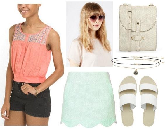 Coral blouse, mint green skirt, slide on sandals