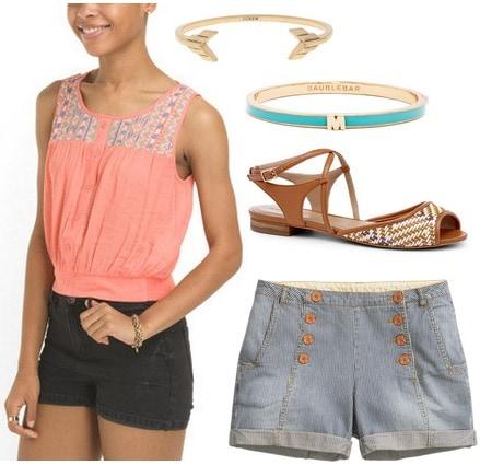 Coral blouse, sailor shorts, woven sandals