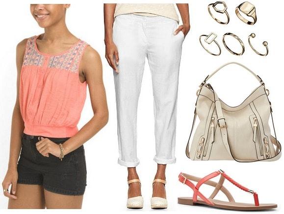Coral blouse, white linen pants, dark coral sandals