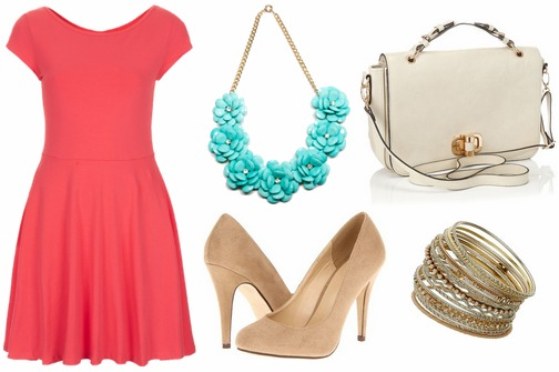 Coral dress, turquoise statement necklace, neutral pumps