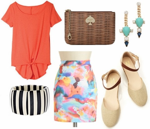 Coral tie front tee, abstract print skirt, striped bracelet