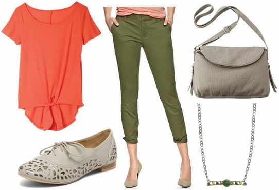 Coral tie front tee, olive pants, oxfords