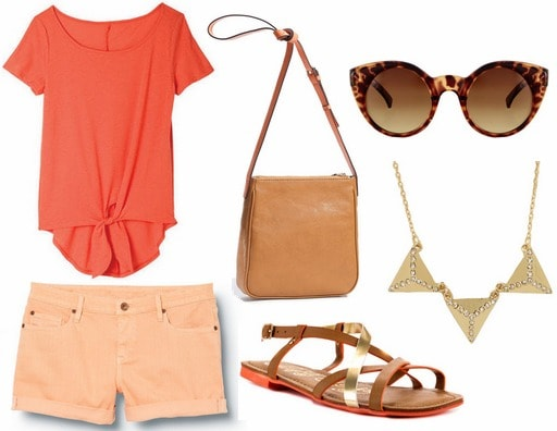 Coral tie front tee, peach shorts, sandals