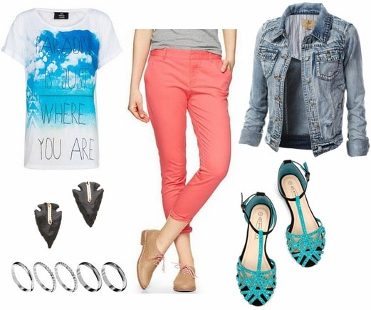 Coral trousers, turquoise sandals, graphic tee, denim jacket