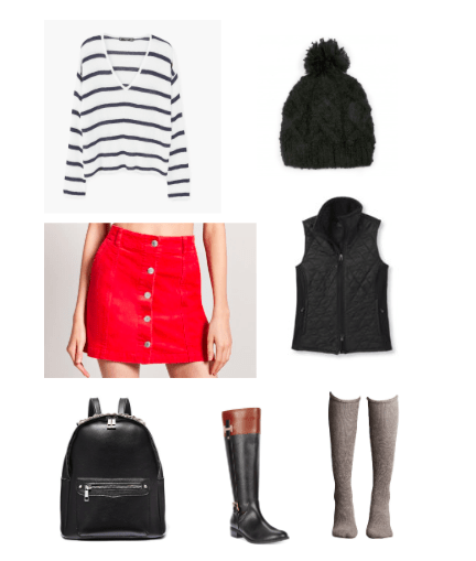 Corduroy skirt outfit for class: Red button-front corduroy skirt paired with a black and white striped sweater, black vest, knee-high boots, a black backpack, and a black knit hat
