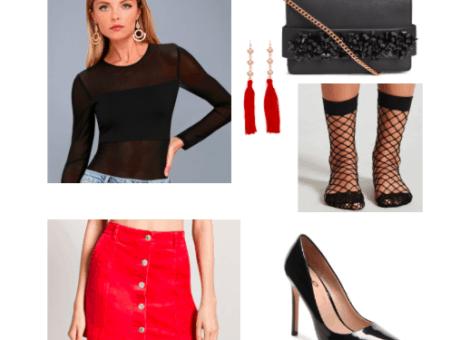 Corduroy skirt outfit for a night out: Red button front corduroy skirt, black sheer bodysuit, pointed toe high heels, black fishnet socks, tassel earrings