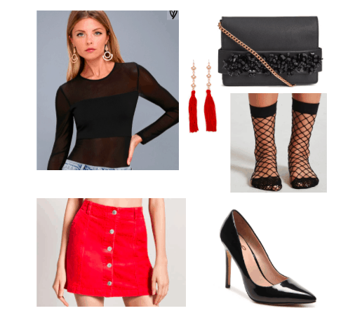 Corduroy skirt outfit for a night out: Red button front corduroy skirt, black sheer bodysuit, pointed toe high heels, black fishnet socks, tassel earrings
