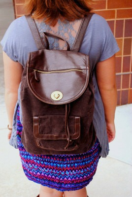 Corduroy and leather backpack at whitewater university