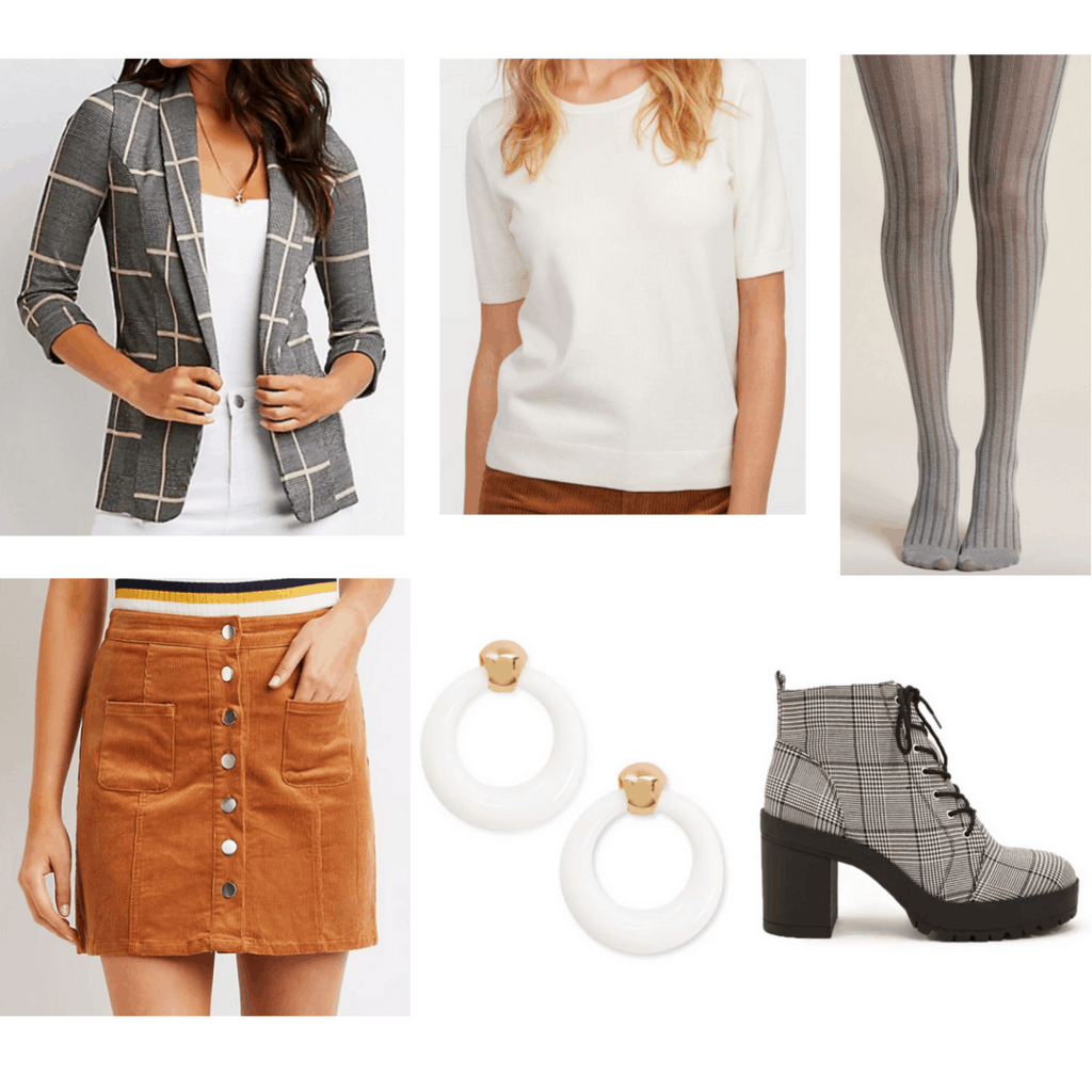 Brown corduroy skirt with white sweater shirt, patterned blazer, tights, earrings and platform shoes.